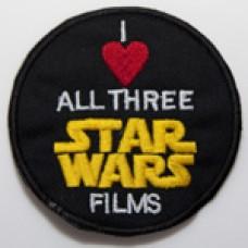 """I love all three Star Wars films patch, 3"""""""