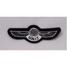 "U.N.I.T wings patch, 4"" white"